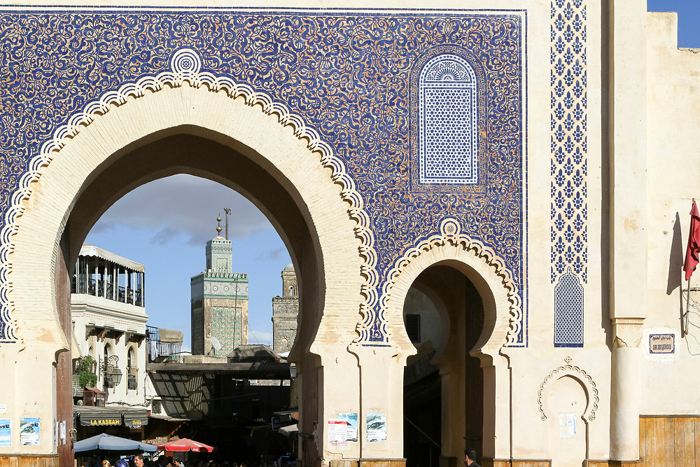 Bab Boujloud / Bab Bou Jeloud, the Blue Gate, Fez Medina, Morocco Fez, Morocco, 2013-11-17.<br />