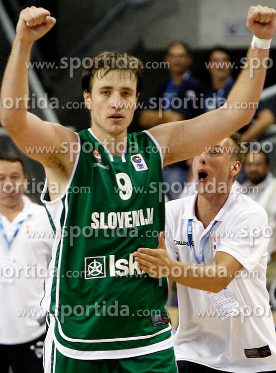 Basketball player Matjaz Smodis of Slovenia, Eurobasket 2007, Alicante. Italija : Slovenija 68:69.  (Photo by Vid Ponikvar/Sportida)