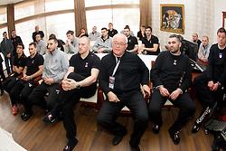 Slovenia Men Handball team at visit of Ambassador Extraordinary at Embassy of the Republic of Slovenia during 3rd day of 10th EHF European Handball Championship Serbia 2012, on January 17, 2012 in Hotel Srbija, Vrsac, Serbia.  (Photo By Vid Ponikvar / Sportida.com)