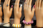 window display for nail extension and jewelry