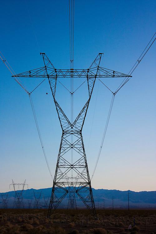 power lines across Nevada desert