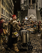 The red-headed drummer at the Fasnacht in Luzern