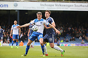 Bury attacker Ryan Lowe (39) battles for possession with Southend United defender Ryan Leonard (18) during the EFL Sky Bet League 1 match between Southend United and Bury at Roots Hall, Southend, England on 30 April 2017. Photo by Matthew Redman.