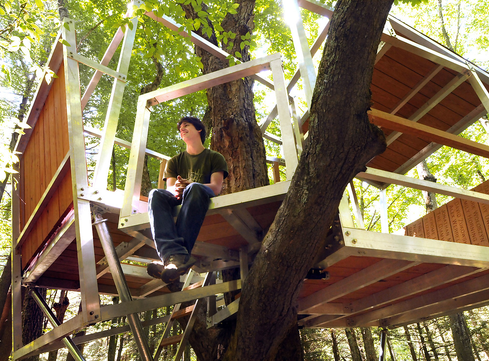 Mara Lavitt &mdash; Register <br /> August 23, 2013 Yale Myers Forest, Union, Eastford and Ashford. 2013 Yale graduate Griffin Collier of Glen Cove, NY with the completed treehouse of sassafras and aluminum he designed and built with the help of friends, and support through Kickstarter.