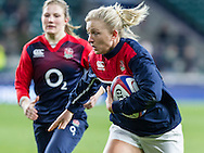 Ceri Large during warm up, England Women v Ireland Women in a 6 Nations match at Twickenham Stadium, Whitton Road, Twickenham, England, on 27th February 2016