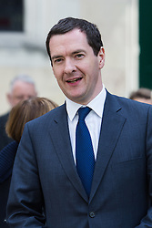 © Licensed to London News Pictures. 03/05/2016. LONDON, UK.  GEORGE OSBORNE leaving a service of Thanksgiving for the life and work of former Chancellor of the Exchequer, Rt Hon The Lord Geoffrey Howe of Aberavon CH PC QC at St Margaret's Church, Westminster Abbey.  Photo credit: Vickie Flores/LNP