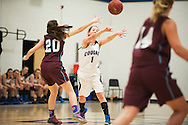 MMU's Ellie Devereaux (1) passes the ball during the girls basketball game between the North Country Falcons and the Mount Mansfield Cougars at MMU high school on Monday night February 15, 2016 in Jericho. (BRIAN JENKINS/for the FREE PRESS)
