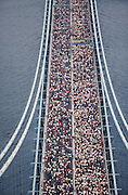 The partcipants of the New York Marathon shortly after the start on their way from Staten Island to Brooklyn on Verrazano-Narrows Bridge.