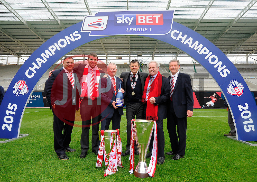 Bristol City directors  and Bristol City manager, Steve Cotterill are pictured with the Sky Bet League One and JPT Trophy's  - Photo mandatory by-line: Joe Meredith/JMP - Mobile: 07966 386802 - 03/05/2015 - SPORT - Football - Bristol - Ashton Gate - Bristol City v Walsall - Sky Bet League One