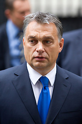 © Licensed to London News Pictures. 09/10/2013. London, UK. The Hungarian Prime Minister, Viktor Orban, leaves Number 10 Downing Street after meeting with the British Prime Minister David Cameron in London today (09/10/2013). Photo credit: Matt Cetti-Roberts/LNP