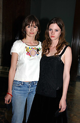 Left to right, EMILY MORTIMER and ROSIE MORTIMER at an art talk and dinner hosted by Louis Vuitton at The National Gallery, Trafalger Square, London on 25th May 2006.