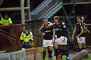 23rd December 2017, Fir Park, Motherwell, Dundee; Scottish Premier League football, Motherwell versus Dundee; Dundee's Paul McGowan is congratulated after scoring for 1-0