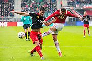 ALKMAAR - 06-03-2016, AZ - Excelsior, AFAS Stadion, Excelsior speler Sander Fischer, AZ speler Vincent Janssen