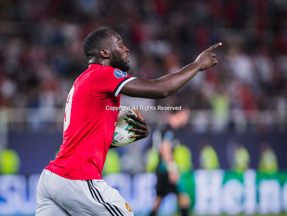 August 8th 2017, Philip II National Arena, Skopje, Macedonia; 2017 UEFA Super Cup; Real Madrid versus Manchester United; forward Romelu Lukaku of Manchester United celebrates his goal during the Super Cup match
