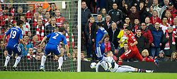 LIVERPOOL, ENGLAND - Tuesday, May 8, 2012: Liverpool's Luis Alberto Suarez Diaz creates the opening goal, an own-goal by Chelsea's Michael Essien, during the final home Premiership match of the season at Anfield. (Pic by David Rawcliffe/Propaganda)