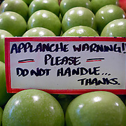 "Fresh produce and warning signs, ""Applanche Warning!! Please Do Not Handle ..."", Pike Place Market, Seattle, Washington"