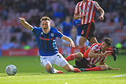 Ollie Rathbone is fouled during the EFL Sky Bet League 1 match between Sunderland and Rochdale at the Stadium Of Light, Sunderland, England on 22 September 2018.