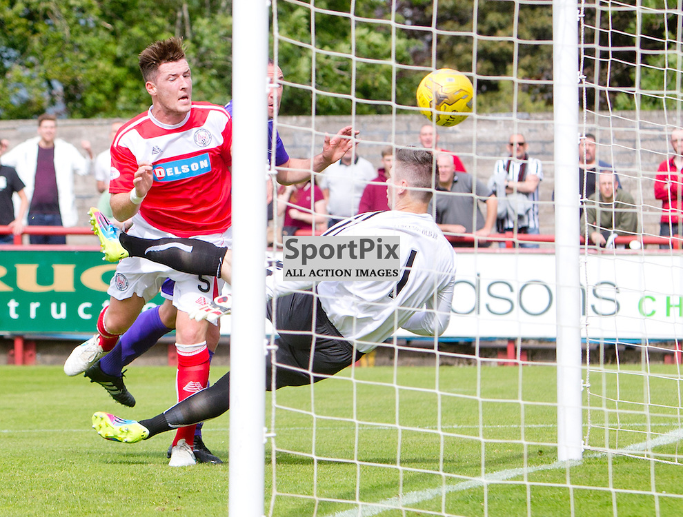Brechin City v Dunfermline Athletic SPFL League One Season 2015/16 Glebe Park 08 August 2015<br /> Michael Moffat heads in <br /> CRAIG BROWN | sportPix.org.uk