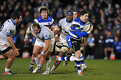 Horacio Agulla of Bath Rugby breaks clear of the Montpellier defence - Photo mandatory by-line: Patrick Khachfe/JMP - Mobile: 07966 386802 12/12/2014 - SPORT - RUGBY UNION - Bath - The Recreation Ground - Bath Rugby v Montpellier - European Rugby Champions Cup