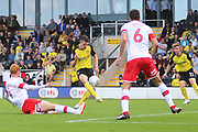 Burton Albion forward Nathan Broadhead (9) misses a great chance to make it 1-1 during the EFL Sky Bet League 1 match between Burton Albion and Rotherham United at the Pirelli Stadium, Burton upon Trent, England on 17 August 2019.