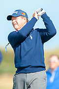 Tom Watson plays his tee shot on the 11th during round 3 of the Seniors Open St Andrews, West Sands, Scotland on 28 July 2018. Picture by Malcolm Mackenzie.