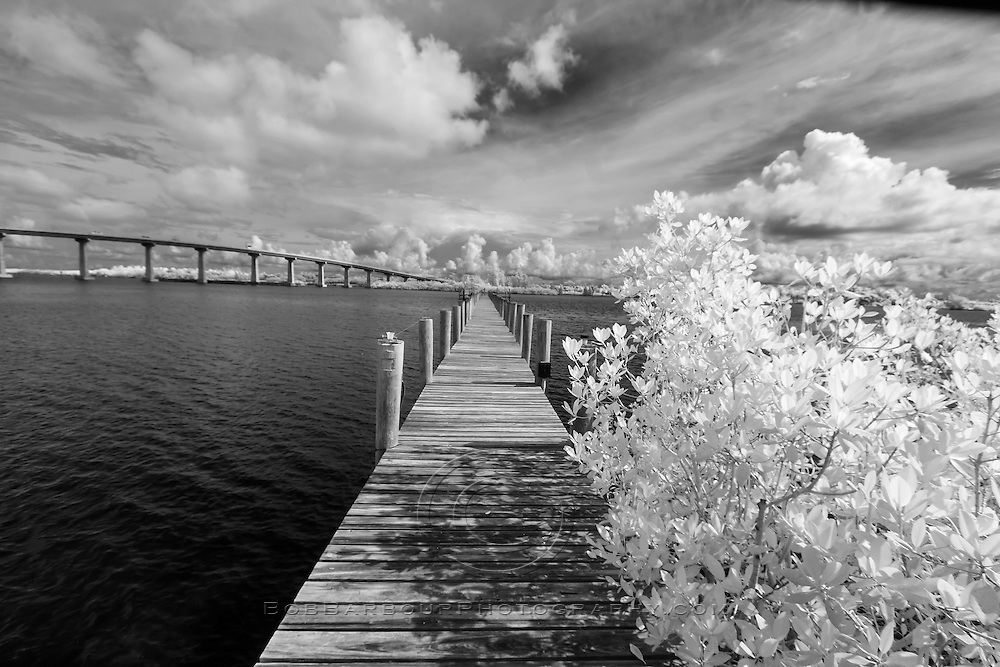 Infrared photo Wabasso Causeway, Florida with boat dock