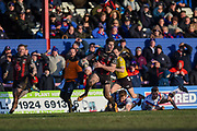 Jake Mamo (17) of Warrington Wolves during the Betfred Super League match between Wakefield Trinity Wildcats and Warrington Wolves at Belle Vue, Wakefield, United Kingdom on 16 February 2020.