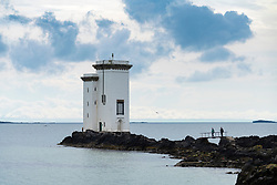 Carraig Fhada lighthouse on Islay in Inner Hebrides, Scotland , UK