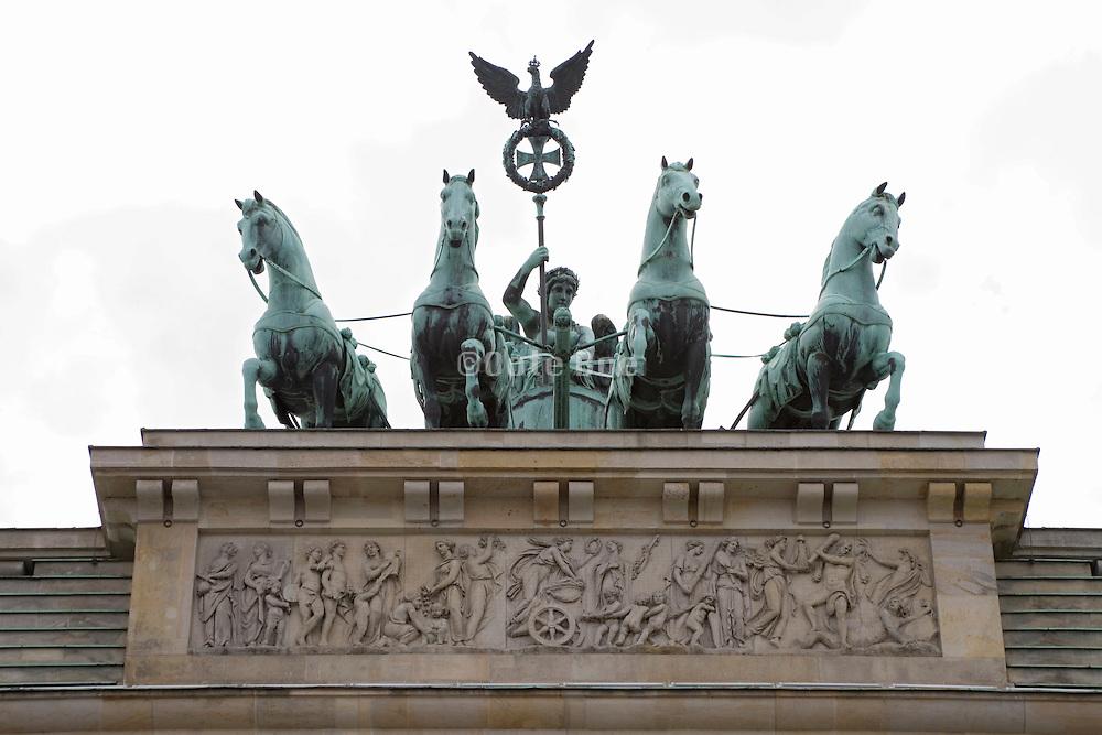 Quadriga statue on top of Brandenburg Gate, Germany, Berlin