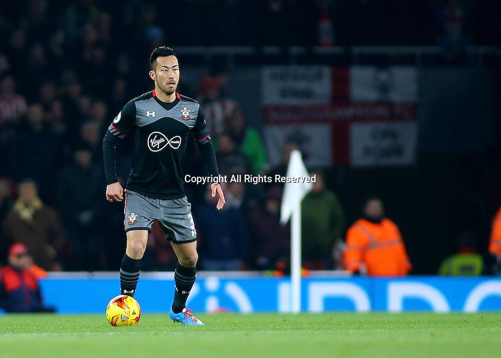30.11.2016. Emirates Stadium, London, England. EFL Cup Football, Quarter Final. Arsenal versus Southampton. Southampton Defender Maya Yoshida brings the ball forward