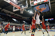 SMU Mustangs guard Emmanuel Bandoumel (5) hits a jump shot while being guraded by Hartford Hawks forward Miroslav Stafl (12) during an NCAA college basketball game, Wednesday, Nov. 27, 2019, in Dallas.SMU defeated Hartford 90-58. (Wayne Gooden/Image of Sport)