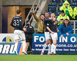 Falkirk's Conor McGrandles celebrates after scoring their first goal.<br /> Falkirk 2 v 0 Dundee, Scottish Championship game at The Falkirk Stadium.<br /> &copy; Michael Schofield.
