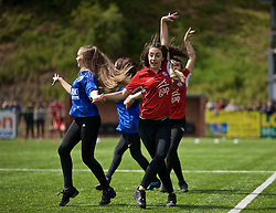 RHOSYMEDRE, WALES - Sunday, May 5, 2019: KLA dance group perform before the FAW JD Welsh Cup Final between Connah's Quay Nomads FC and The New Saints FC at The Rock. (Pic by David Rawcliffe/Propaganda)