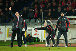 LILLE, FRANCE - Thursday, March 11, 2010: Liverpool's manager Rafael Benitez, assistant manager Sammy Lee, first team coach Mauricio Pellegrino during the UEFA Europa League Round of 16 1st Leg match against LOSC Lille Metropole at the Stadium Lille-Metropole. (Photo by David Rawcliffe/Propaganda)