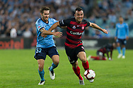 SYDNEY, AUSTRALIA - APRIL 13: Western Sydney Wanderers forward Mark Bridge (19) battles Sydney FC midfielder Joshua Brillante (6) for the ball at round 25 of the Hyundai A-League Soccer between Western Sydney Wanderers and Sydney FC  on April 13, 2019 at ANZ Stadium in Sydney, Australia. (Photo by Speed Media/Icon Sportswire)