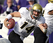 Colorado quarterback Joel Klatt looks for running room against Kansas State in the third quarter at KSU Stadium in Manhattan, Kansas, October 29, 2005.  The Buffaloes beat K-State 23-20.