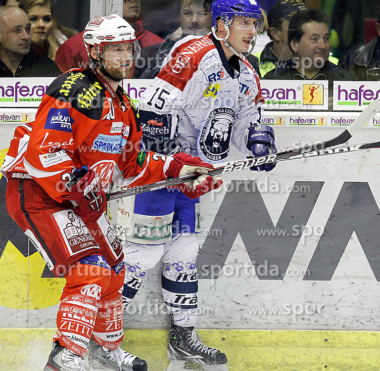 "13.03.2012, Stadthalle, Klagenfurt, AUT, EBEL, EC KAC vs KHL Medvescak Zagreb, Playoff, Halbfinale, 4. Spiel, im Bild Johan Lammers (KAC) und Andrew Sertich (Zagreb),  during the semifinal Match of ""Erste Bank Icehockey League"", fourth play between EC KAC and KHL Medvescak Zagreb at Stadthalle, Klagenfurt, Austria on 2012/03/13. EXPA Pictures © 2012, PhotoCredit: EXPA/ Oskar Hoeher."