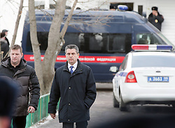 61009838<br /> Russian Investigative Committee spokesman Vladimir Markin arrives at a school in northeast Moscow, where a high-school student took fellow pupils hostage and shot a teacher and a police officer dead. The teenager has been detained, Moscow, Russia, Monday, 3rd February 2014. Picture by  imago / i-Images<br /> UK ONLY