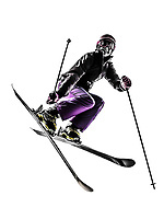 one  woman skier freestyler jumping in silhouette on white background