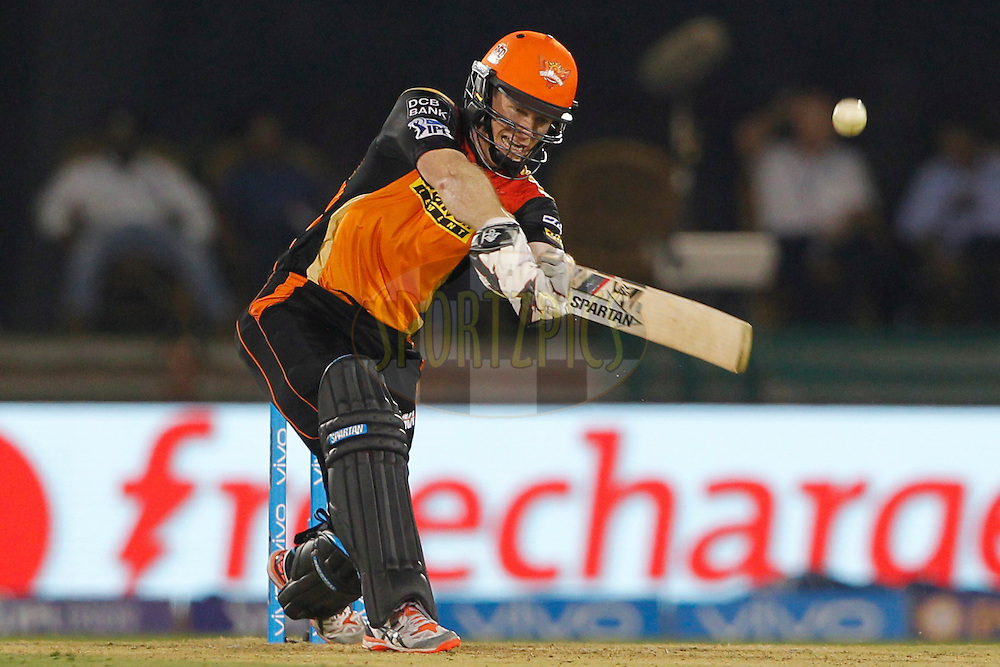 Eoin Morgan of Sunrisers Hyderabad bats during match 52 of the Vivo Indian Premier League ( IPL ) between the Delhi Daredevils and the the Sunrisers Hyderabad held at the Shaheed Veer Narayan Singh International Cricket Stadium, Naya Raipur, India on the 20th May 2016<br /> <br /> Photo by Deepak Malik / IPL/ SPORTZPICS