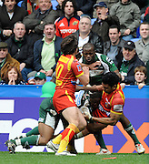 Reading, GREAT BRITAIN, Steffen ARMITAGE's tackle on Villami VAKI which lead to his retalation and the Red card, Topsy OJO [facing] and left Nicolas DURAND, during the Heineken, Quarter Final, Cup rugby match,  London Irish vs Perpignan, at the Madejski Stadium on Sat 05.04.2008 [Photo, Peter Spurrier/Intersport-images].....Watford, GREAT BRITAIN, during the Pool 4 Rd 5  Heineken Cup game Saracens vs Biarittz at Vicarage Road, Hert's  26/04/2007  [Photo, Peter Spurrier/Intersport-images].....