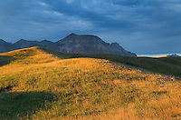 Sunrise over the plains and Rocky Mountains at Waterton Lakes National Park Alberta Canada
