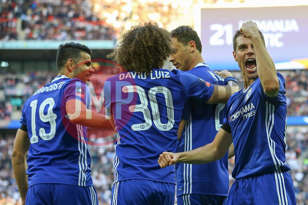 Cesar Azpilicueta of Chelsea celebrates Nemanja Matic of Chelsea goal, Chelsea 4-2 Tottenham Hotspur - Mandatory by-line: Jason Brown/JMP - 22/04/2017 - FOOTBALL - Wembley Stadium - London, England - Chelsea v Tottenham Hotspur - Emirates FA Cup Semi-Final