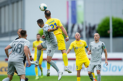 Miral Samardzic of Olimpija vs Predrag Sikimic of Domzale during football match between NK Domzale and NK Olimpija in 29th Round of Prva liga Telekom Slovenije 2019/20, on June 21, 2020 in Sports park, Domzale, Slovenia. Photo by Vid Ponikvar / Sportida