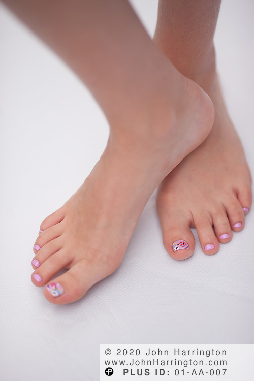 Studio shots of a young girls manicure and pedicure.
