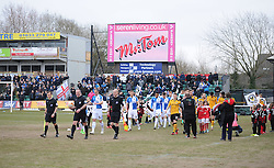 Bristol rovers team run out onto the pitch. - Mandatory byline: Alex James/JMP - 19/03/2016 - FOOTBALL - Rodney Parade - Newport, England - Newport County v Bristol Rovers - Sky Bet League Two