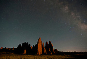 The Fins, Arches National Park, and Milky Way at night.
