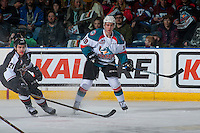 KELOWNA, CANADA - FEBRUARY 10: Ryan Jones #21 of the Vancouver Giants attempts to block the pass to Dillon Dube #19 of the Kelowna Rockets on February 10, 2017 at Prospera Place in Kelowna, British Columbia, Canada.  (Photo by Marissa Baecker/Shoot the Breeze)  *** Local Caption ***