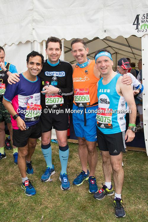Rehman Chishti MP (Conservative, Gillingham &amp; Rainham), Edward Timpson MP (Conservative, Crewe &amp; Nantwich), Jonathan Djangoly MP (Conservative, Huntingdon) and Alun Cairns (Conservative, Vale of Glamorgan). The Virgin Money London Marathon, 23rd April 2017.<br /> <br /> Photo: Joanne Davidson for Virgin Money London Marathon<br /> <br /> For further information: media@londonmarathonevents.co.uk