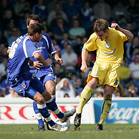 Photo: Mike Greenslade..Cardiff City v Sheffield Wednesday..Coca Cola Championship League..07.04.07..Ninian Park..KO 3pm... Cardiff's Joe Ledley blocks a clearance from Owls Glen Whelan